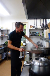Playing with food, back cooking at Trigonos Retreat Centre, Nantlle, Wales