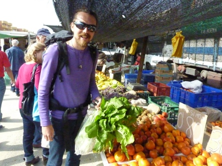 Happy day at the Sunday market (with backpack full of good stuff), Puerto Mazzaron, Spain