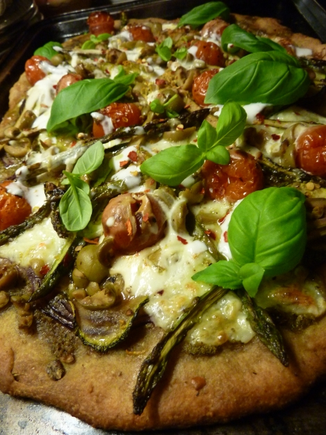 Roast Asparagus, Pesto and Lemon Pizza