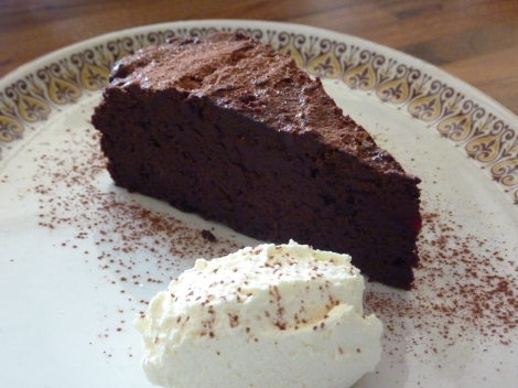 Dark Chocolate, Beetroot and Ginger Cake with Orange Cream
