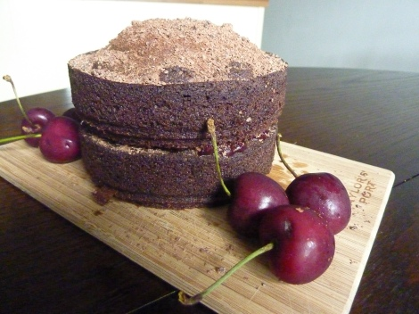 Gertrude's Chocolate Cake filled with Dark Cherry Jam