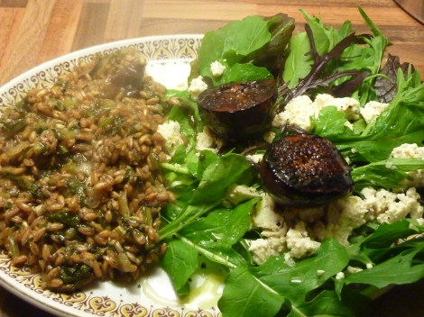 Chestnut Mushroom and Sage Farrotto with Balsamic Figs and Tofu Feta
