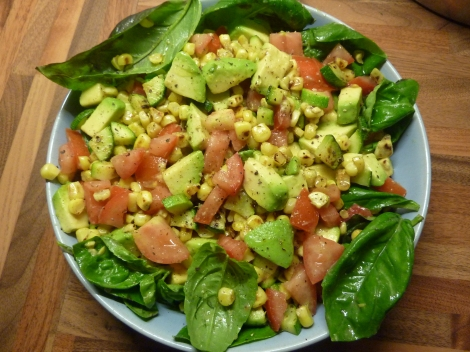 Roast Corn, Avocado and Basil Salad