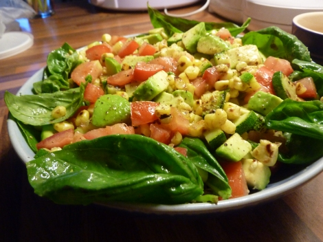Roast Corn, Avocado and Basil Salad