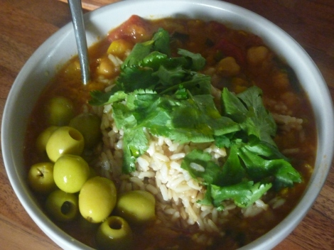 Heavy plate version with rice, olives, fresh coriander and lashings of olive oil