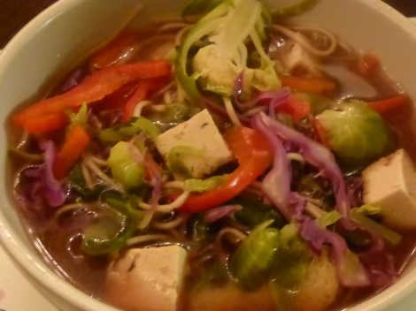Hazelnut Tofu and Soba Noodle Broth with Red Pepper and Brussel Sprouts