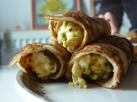 Feta, Chive and Olive Breakfast Wraps