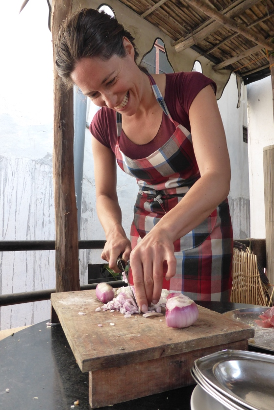 Jane getting to grips with an onion - Udaipur, 2/14