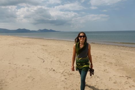 Jane on the beach this morning (Dinas Dinlle)