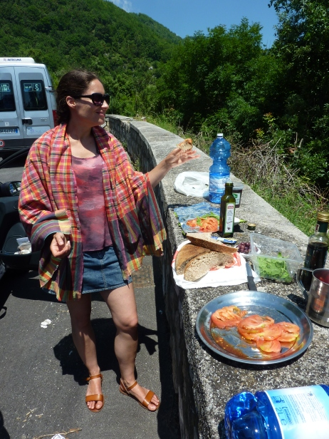 Another roadside lunch -  Outside the very touritsy Ravello, Amalfi Coast