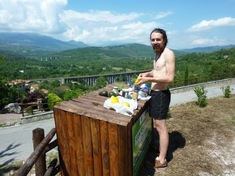 Making salads on bins - A little medieval village, somewhere in the Cilento National Park