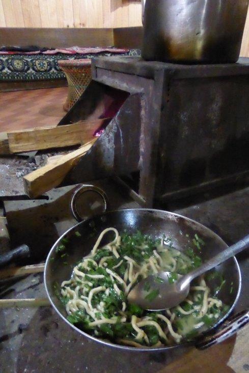 Our handmade noodle dish in Menchuka, Arunachal Pradesh.