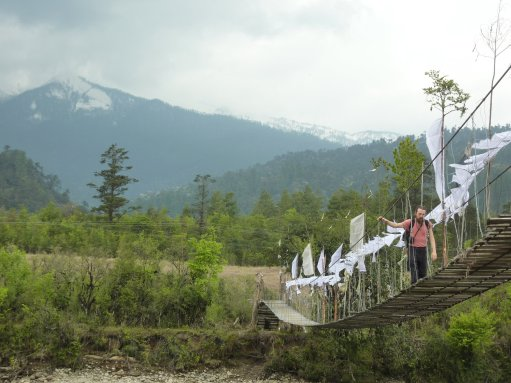 Crossing creaky rope bridges......near Menchuka, Arunachal Pradesh