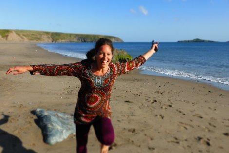 Jane on Aberdaron beach yesterday, full of blackberries!