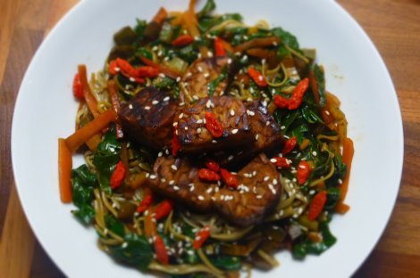 Quick Tempeh Stir Fry with Buckwheat Noodles, Rainbow Chard and Goji Berries