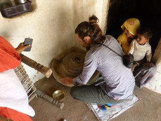 Grinding Millet for chapati, Bishnoi Village, Jodphur