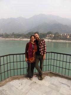 Jane and I overlooking the jade green Ganga