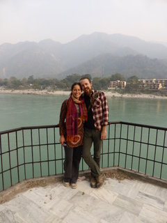 Jane and I overlooking the jade green Ganga