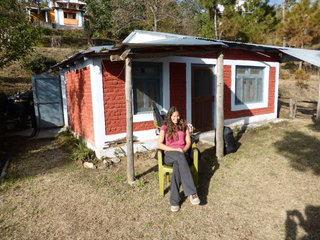 Jane taking in some rays outside the cottage - Kasar Devi