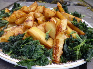 Pan Roast Maple Parsnips and Young Nettles