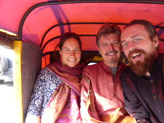 Delhi 30-odd degrees, whizzing around in a Rickshaw with Dad and Jane, April '15 (A long way from he Beach House!)