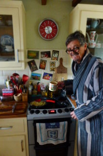 Dad gets caught in the crossfire (notice awesome dressing gown, essential in the Artic realm of the pre-spring Beach House Kitchen)