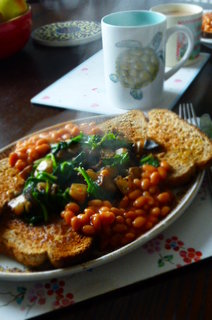 Mushroom and Spinach Hash (with baked beans)