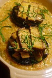 Stacked Portobello Mushrooms, Hazelnut Tofu and Leeks with Caramelised Garlic and Red Lentil Sauce (Quite a mouthful in so many ways!)