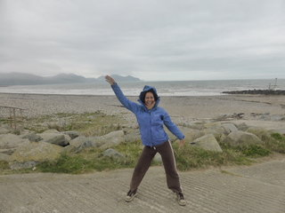 Jane throwing shapes on Dinas Dinlle beach - Wales is yet to feel the heat wave of the south