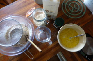 Everything in neat bowls, probably the tidiest bread making recipe (no flour everywhere for a start)