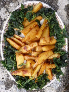 Braised Maple Parsnips with Young Nettles