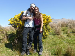 Jane on a walk in the hills, the gorse is right out in bloom (lovely honey smells)