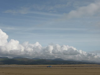 Our car off in the distance, Black Rock Sands, North Wales