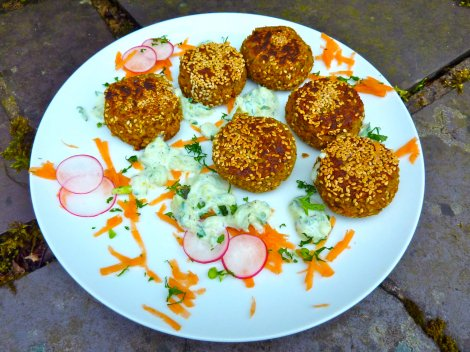 Egyptian Fava Bean Falafels with Cucumber and Lemon Yoghurt (vegan and gluten free)