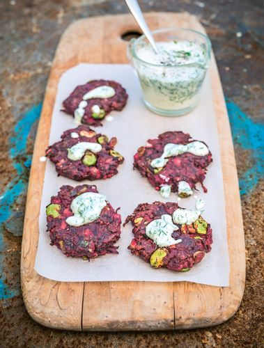 Beetroot and Cumin Fritters from Peace and Parsnips