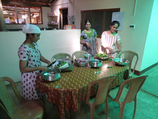 The ladies at Varnam Homestay, Wayanand, Kerala - Lunch prep in full swing
