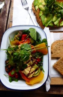 Delicious vegan salad with avocado on toast - Flat White, Durham