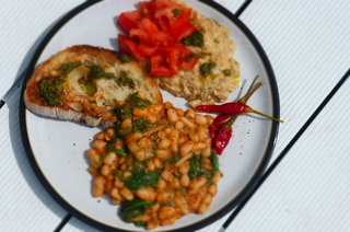 Italian Style Cannellini Beans with Pickled Chillies and Basil Oil