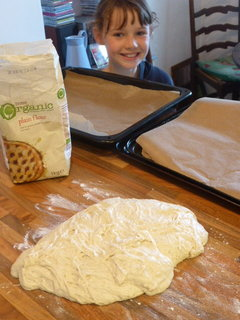 Pizza dough ready for action and a random niece (lovely Martha)