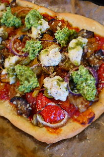 Roasted Med Veg Pizza with Toasted Peanut Pesto and White Bean Puree