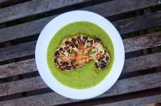 Charred Cauliflower Steaks with Coconut and Kale Puree