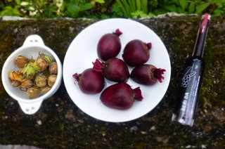 Some of the special bits; cobnuts (from Ludlow), organic beetroots from Tyddyn Teg and Aronia Berry Vinegar