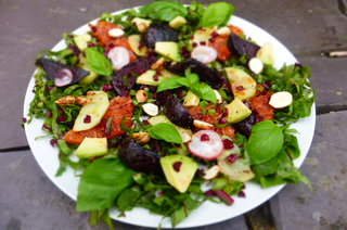 Chargrilled Ruby Grapefruit, Beetroot and Cobnut Salad with Aronia Berry Dressing