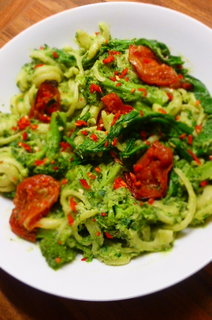 Dischi Volanti with Avocado and Kale Pistou, Broccoli and Slow-Roast Tomatoes