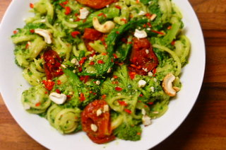 Dischi Volanti with Avocado and Kale Pistou, Broccoli and Home Sun Blushed Tomatoes