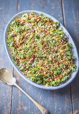 Fragrant Wild Rice, Curly Kale and Pistachio Salad - Recipe from Peace & Parsnips