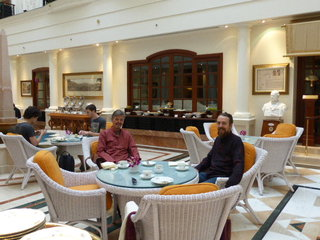 Dad and I in the Imperial Hotel Delhi enjoying very posh chai and those very small sandwiches you tend to get with posh tea.