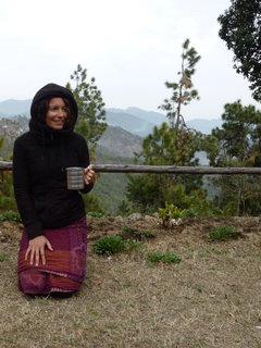 Jane enjoying a chai outside out little cottage up near Nanda Devi, Himalayas, India
