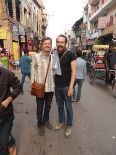Seeking refreshment in Paharganj, Delhi with the big man (aka Dad)