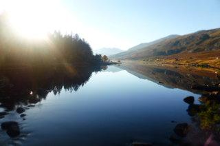 The lake beside Plas-y-Brenin, looking down towards Snowdon